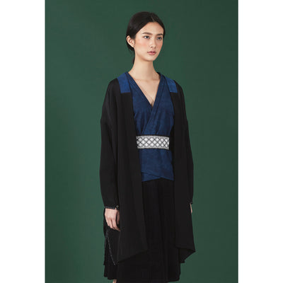 BLACK SILK OVERCOAT