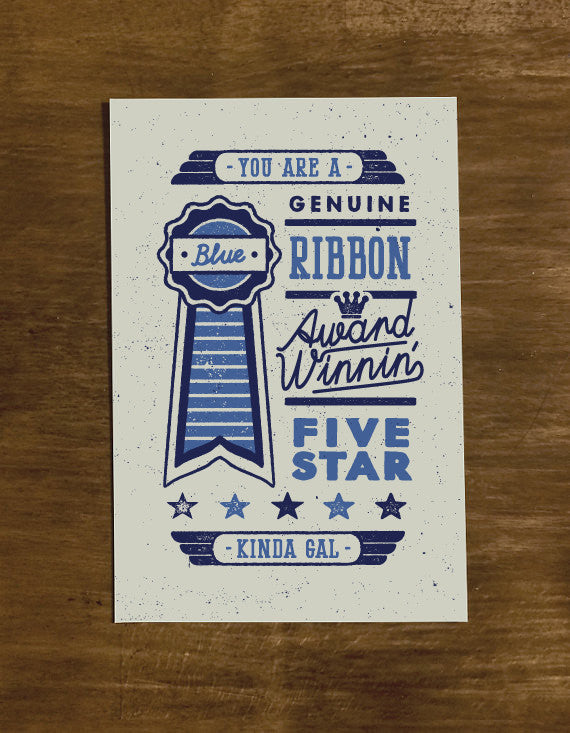 Blue Ribbon Gal | Greeting Card