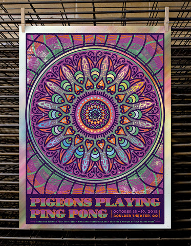 Pigeons Playing Ping Pong | Boulder - Green Foil