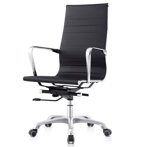 Meelano M504 Ribbed High Back Executive Office Chair in Black
