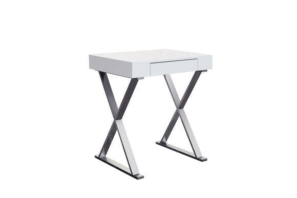 Whiteline Elm Desk Small in High Gloss White