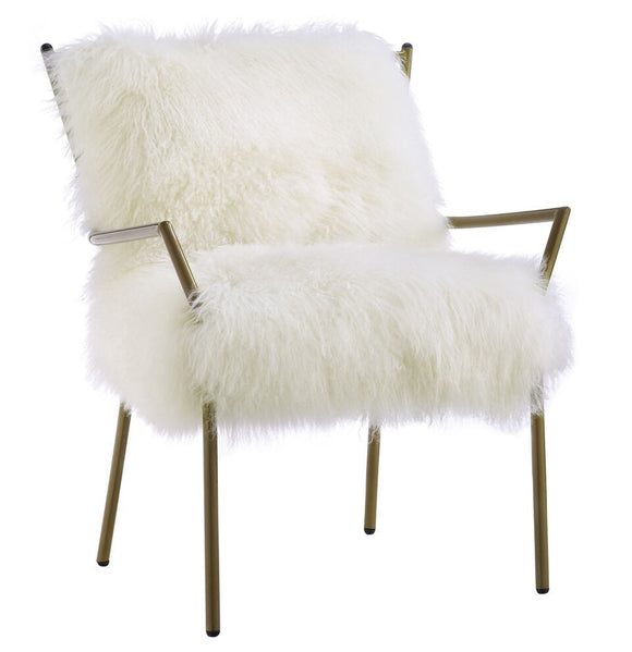 TOV Furniture Lena White Sheepskin Chair