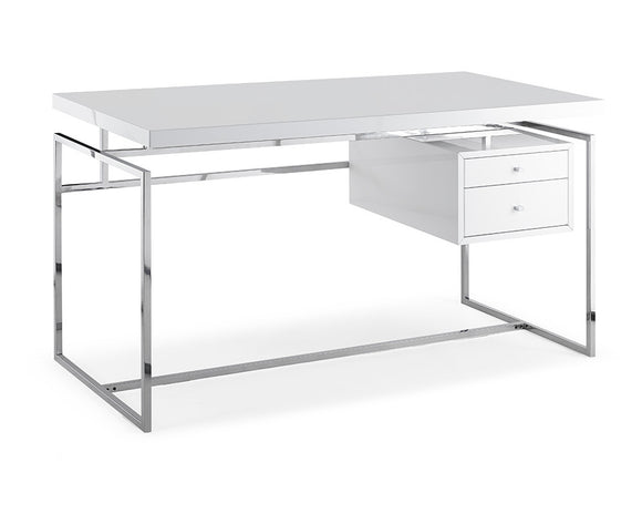 Whiteline Harlow Desk in High Gloss White
