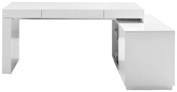 J&M Furniture S005 Modern Office Desk White High Gloss
