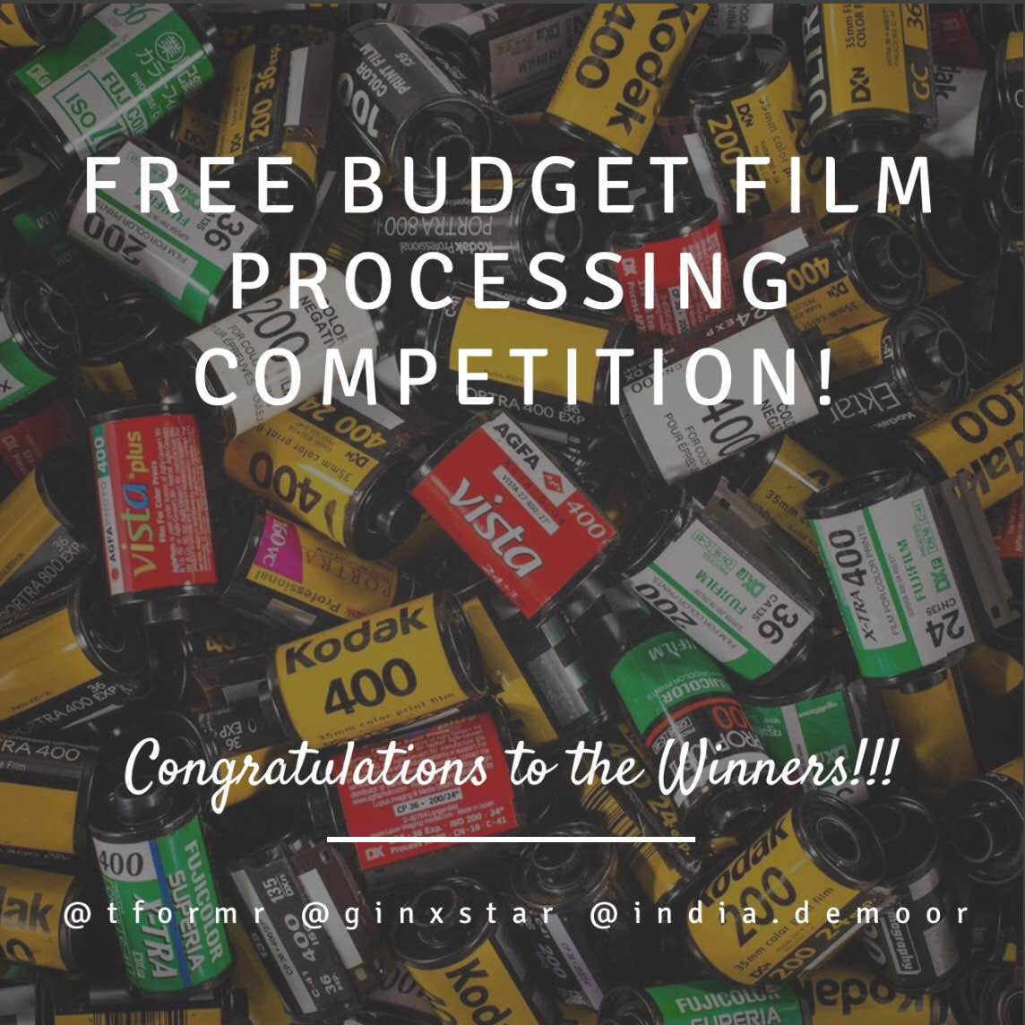 Winners of the Instagram Win Free Budget Film Processing Competition Announced
