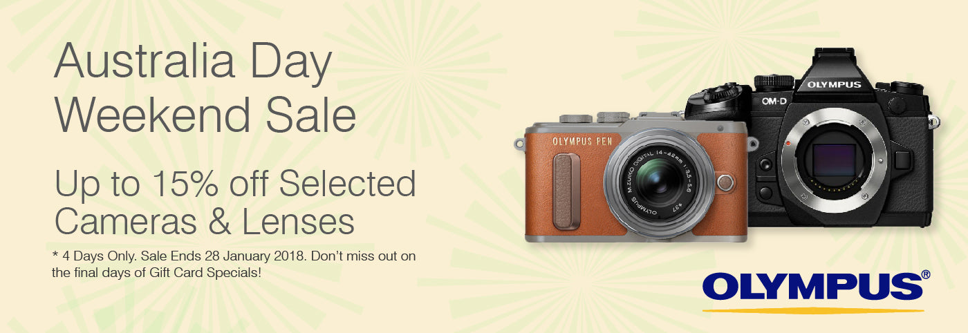 Olympus Australia Day Weekend Celebration Sale - Up to 15% off Selected Cameras and Lenses