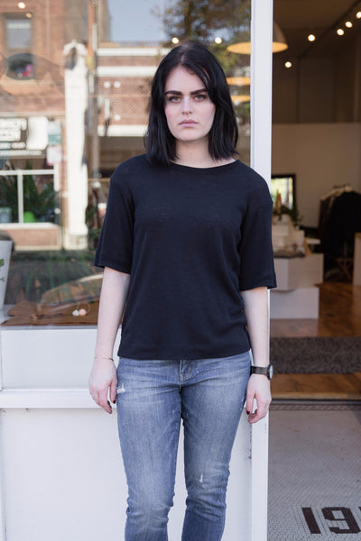 Wool T-Shirt in Midnight