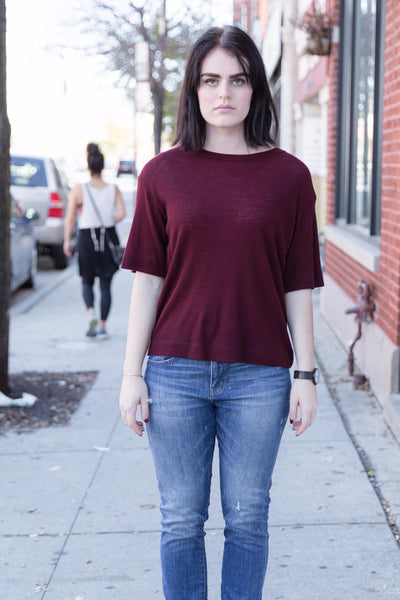 Wool T-Shirt in Oxblood