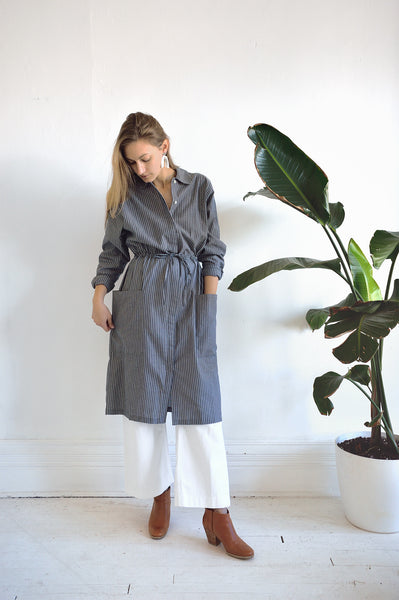 Detour Shirt Dress in Chambray Stripe