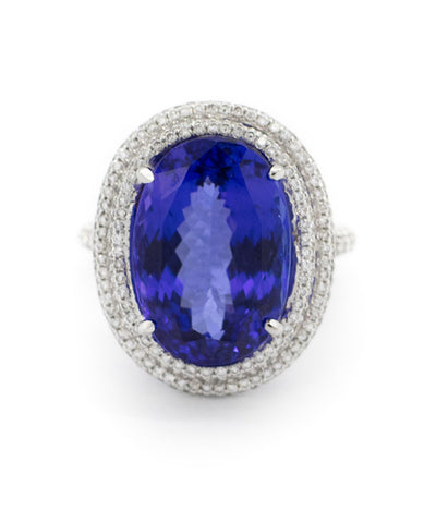 Ladies Platinum Diamond Tanzanite Ring