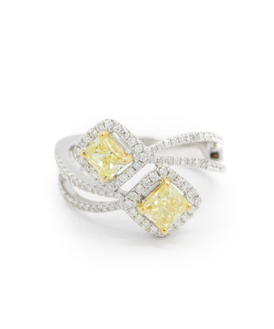 Ladies White Gold, Diamond and Yellow Diamond Ring