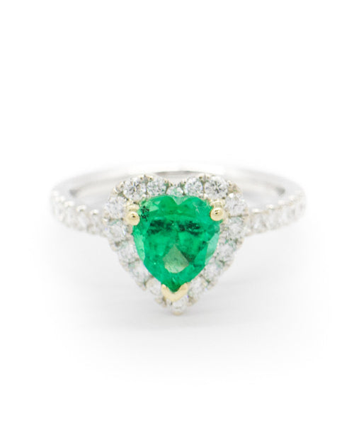 Ladies White Gold, Emerald and Diamond Ring