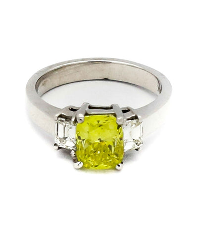 2 Baguette Yellow Diamond Ring