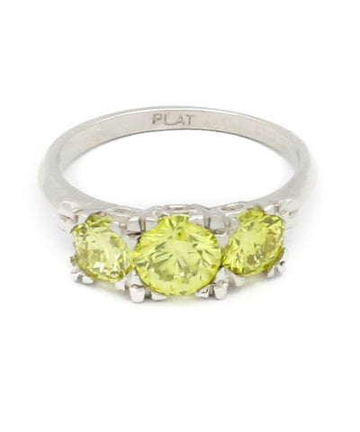 3 Stone Yellow Diamond Ring