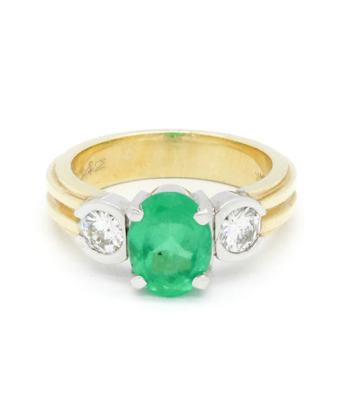 Diamond and Emerald Yellow Gold Ring