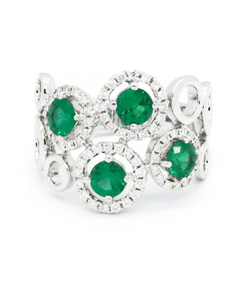 Diamond and Four Round Emeralds Ring