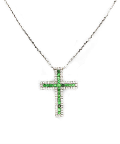 Diamond and Tsavorite Necklace Cross