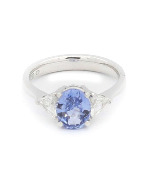 Diamond and Blue Sapphire White Gold Ring