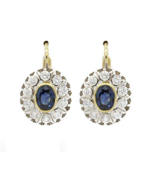 Diamond and Blue Sapphire Earring