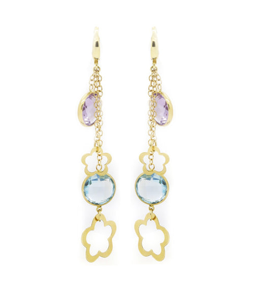 Yellow Gold, Blue Topaz and Amethyst Earring