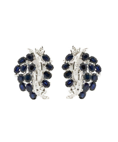 Diamond and Blue Sapphire Ladies Earring