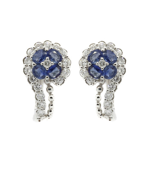 Diamond and Blue Sapphire White Gold Earring