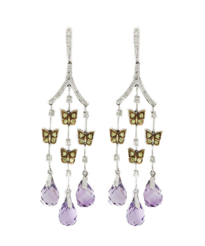 Chandelier diamond, Amethyst and Yellow Diamond Earrings