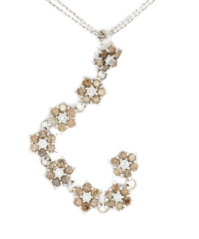 Diamond White and Brown Sapphire Necklace