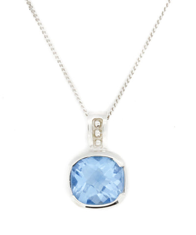 Blue Topaz Round Necklace
