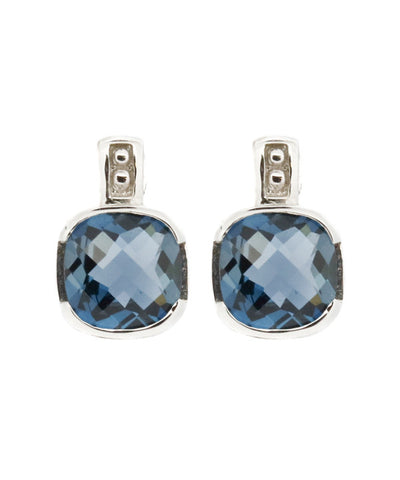 Blue Topaz White Gold Earrings