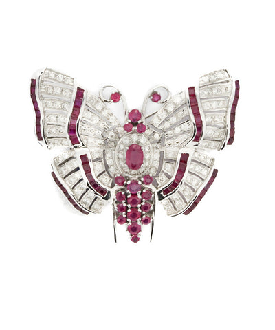 Butterfly Semi Precious Stones and White Gold Brooch