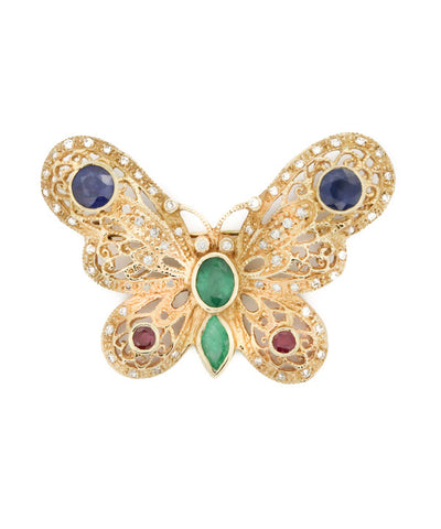 Butterfly Semi Precious Stones and Yellow Gold Brooch