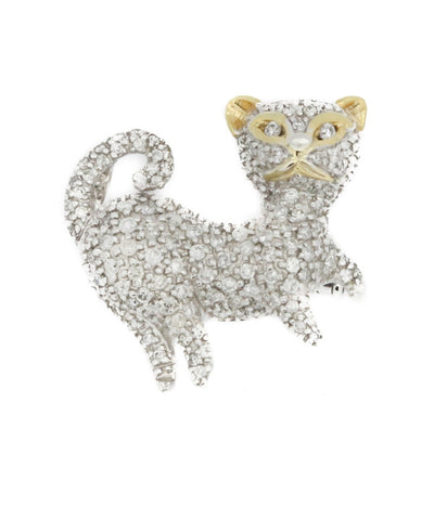 Cat White Gold Brooch