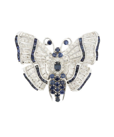 Diamond and Blue Sapphire Butterfly Brooch