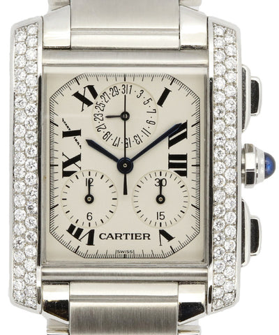 Cartier Mens Steinless Steel and Diamonds White Watch