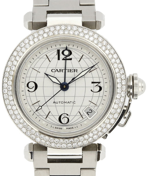 Cartier Ladies Stainless Steel and Diamonds Watch