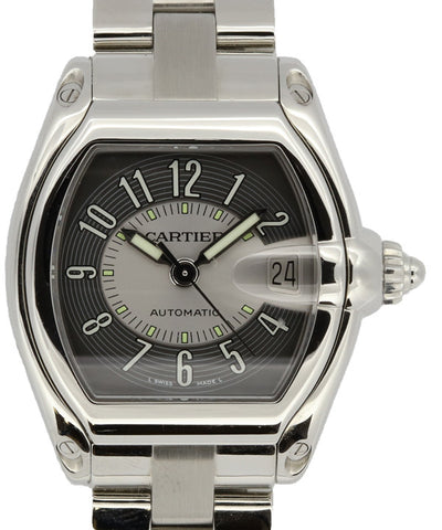 Cartier Ladies and Mens Stainless Steel Square Black Watch