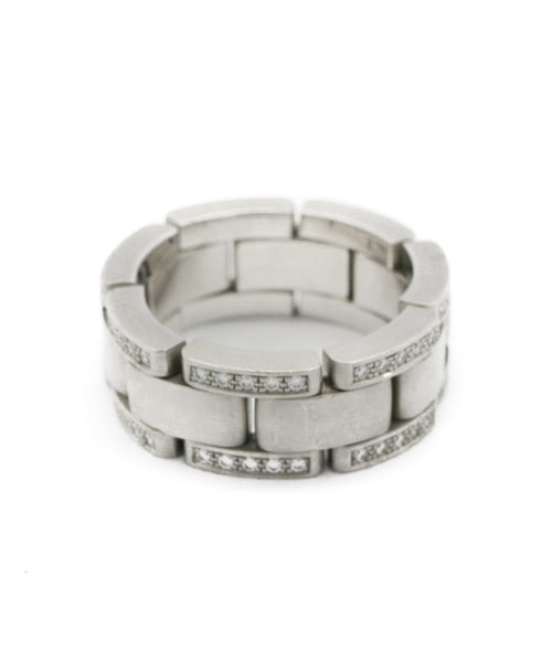 Unisex White Gold Link Style Diamond Ring