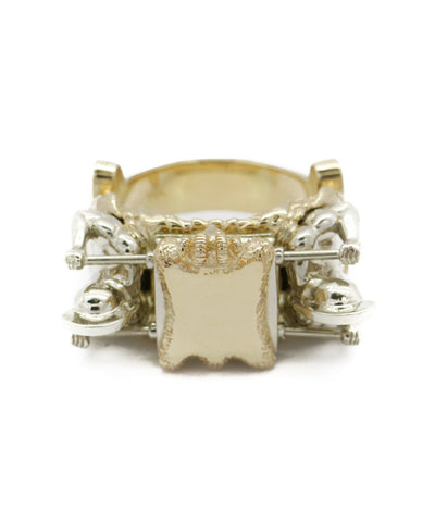 14k Two Tone Men's Gladiator Style  Ring