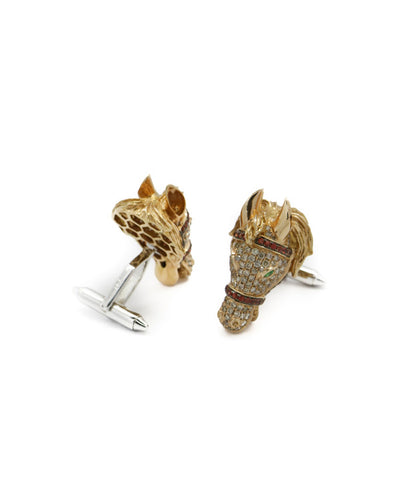 18k Rose and White Gold Horse Cufflinks