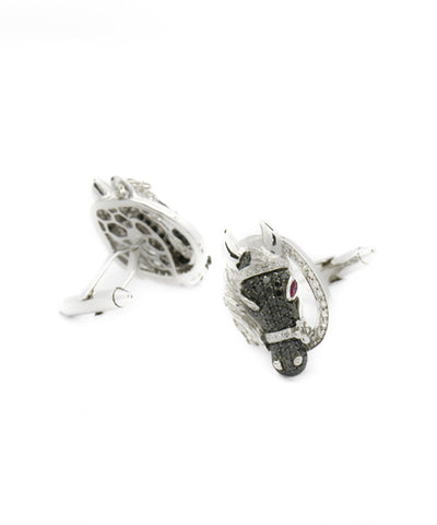 White Gold and Diamond Horse Cufflinks