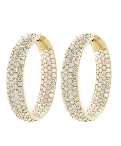 Diamond Yellow Gold Hoop Earring