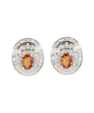 Diamond and Yellow Sapphire Semi Precious Stones Earring