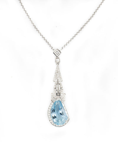 Necklace Aquamarine and Diamond
