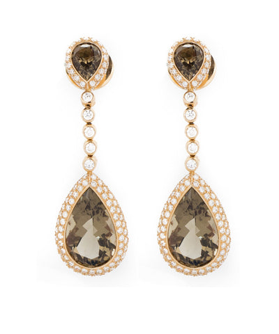 Diamond and Smokey Quartz Earring