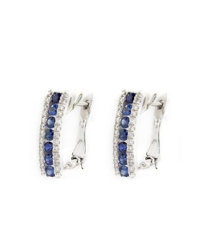 Diamond and Blue Sapphire White Gold Ladies Earring
