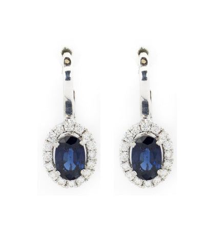 Diamond and Blue Sapphire Semi Precious Stones Ladies Earring
