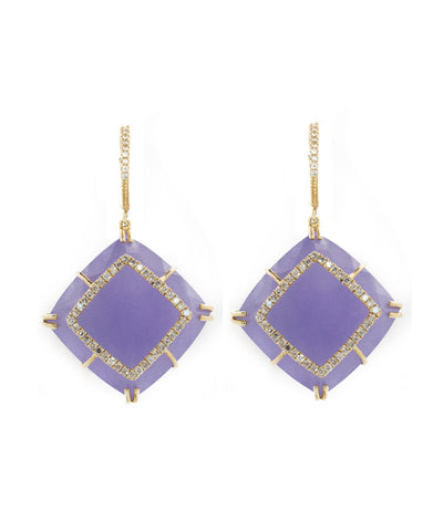 Purple Jade and Diamond Earring