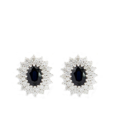 Diamond and Blue Sapphire Semi Precious Stones White Gold Earring