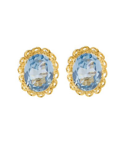 Blue Topaz Yellow Gold Earrings